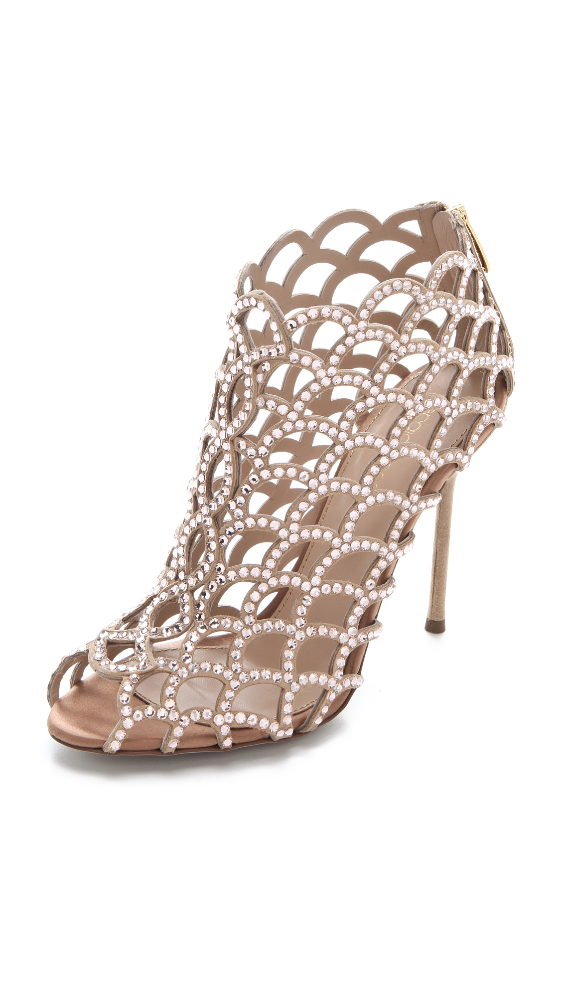 sergio rossi female sergio rossi mermaid cage booties nude