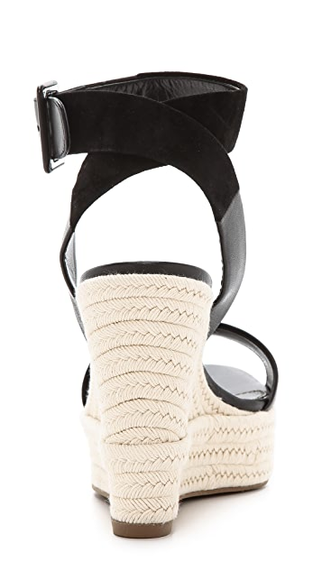 Sergio Rossi Wedge Suede Sandals