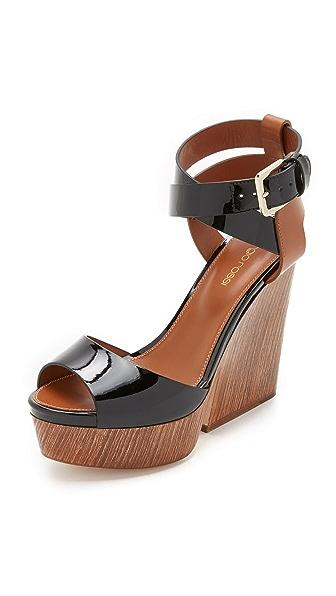 Sergio Rossi Capri Wooden Wedge Sandals