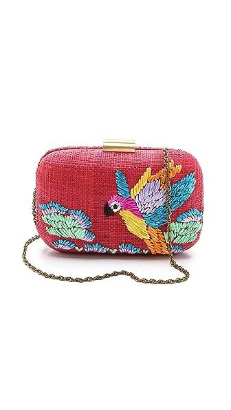 Serpui Marie Macaw Embroidered Fauna Clutch