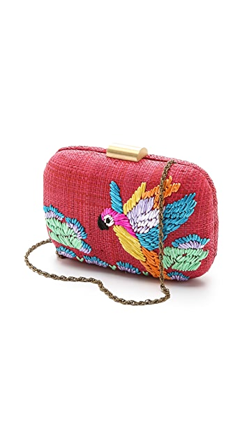 Serpui Marie Macaw Embroidered Fauna Clutch