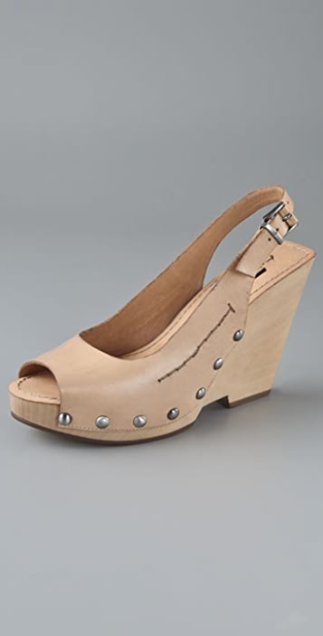 7 For All Mankind Blythe Open Toe Wedge Clogs