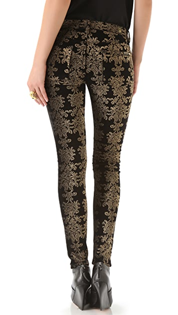7 For All Mankind Brocade Foil Skinny Velvet Pants