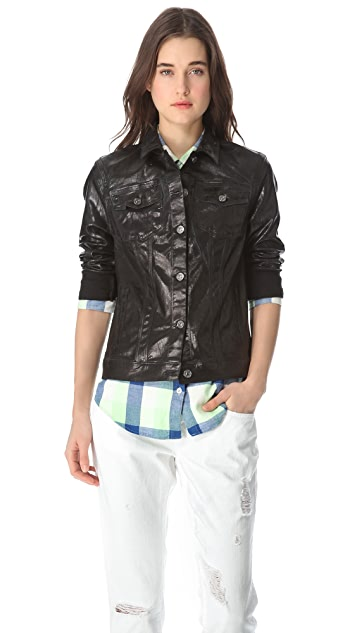 7 For All Mankind Moto Coated Denim Jacket