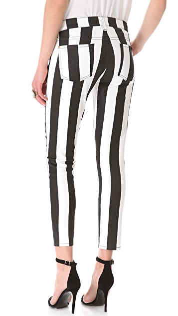 7 For All Mankind Coated Striped Cigarette Jeans