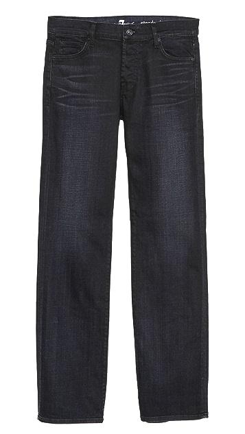 7 For All Mankind Standard Black Sprayed Stretch Jeans