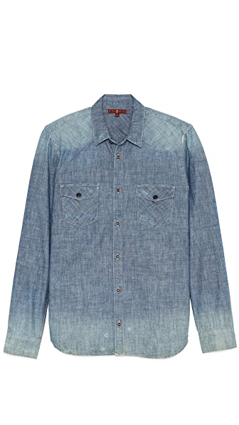 7 For All Mankind Destroyed Denim Sport Shirt