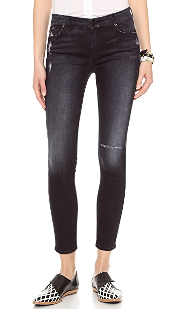 7 For All Mankind Ankle Skinny Jeans with Holes