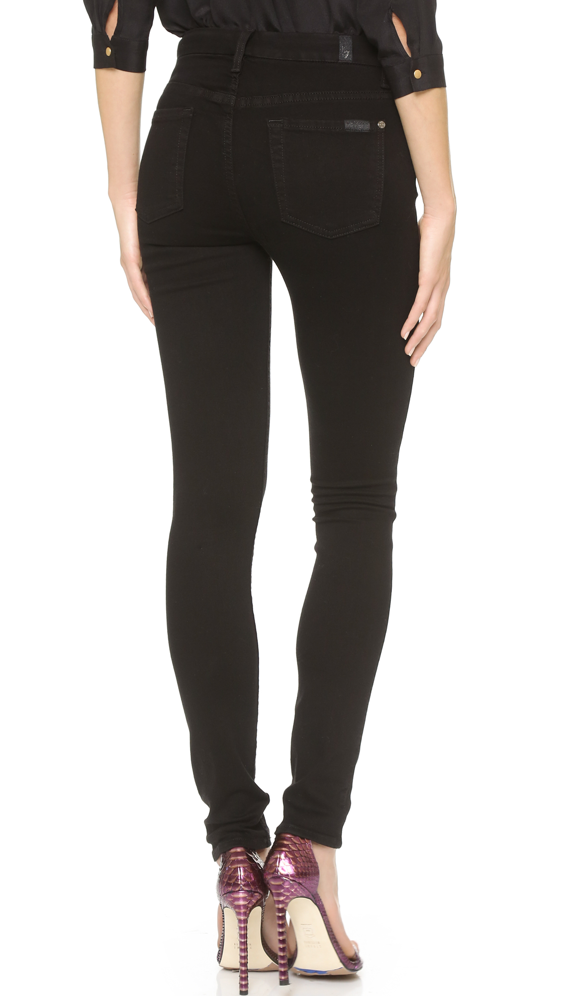 7 For All Mankind The High Waist Slim Illusion Luxe Skinny Jeans ...