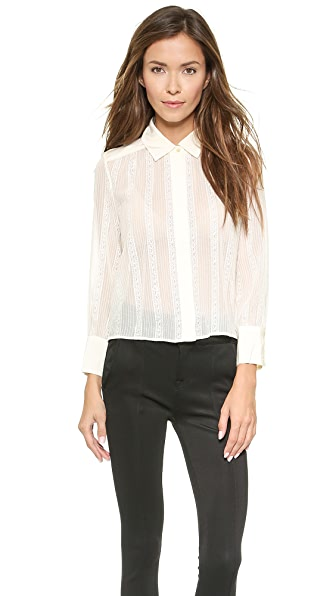 7 For All Mankind Shirred Lace Cropped Blouse