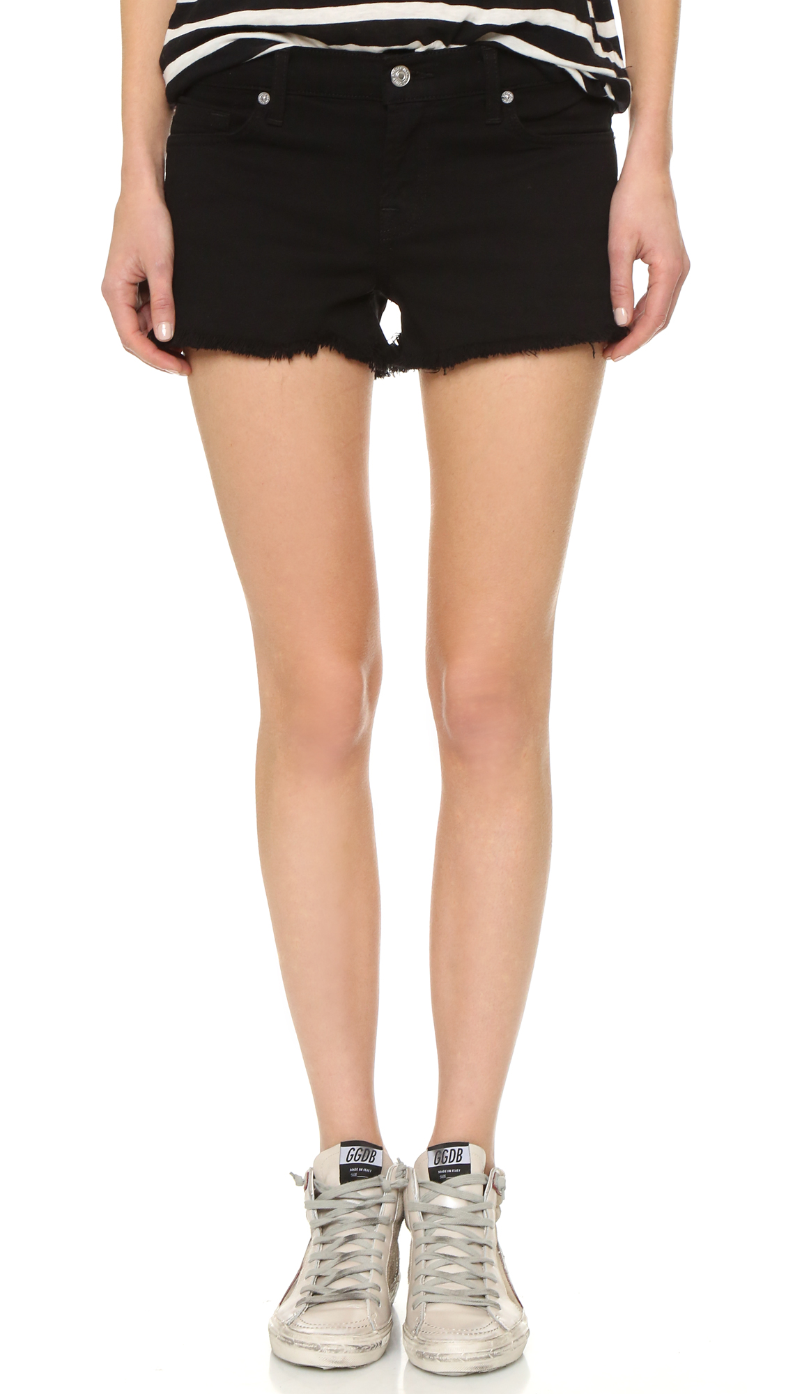 7 For All Mankind Cut Off Shorts In Black