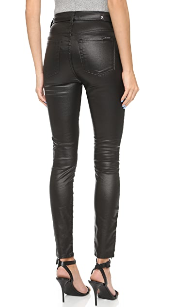 7 For All Mankind High Waisted Zip Ankle Jeather Skinny Jeans
