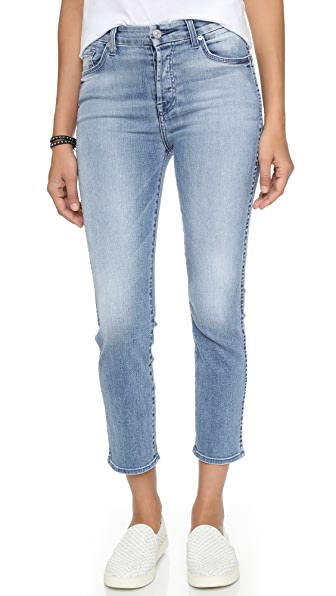 7 For All Mankind Cropped High Waisted Straight Leg Jeans ...