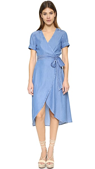 7 For All Mankind Denim Wrap Dress - Clear Water Blue