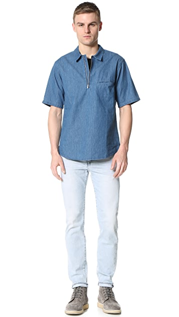 Shades of Grey by Micah Cohen Short Sleeve Zip Front Shirt