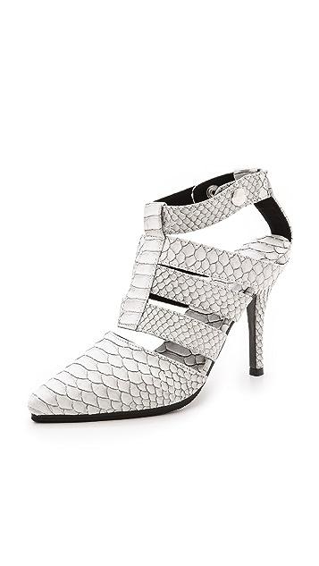 Shakuhachi Python Embossed Strappy Heels
