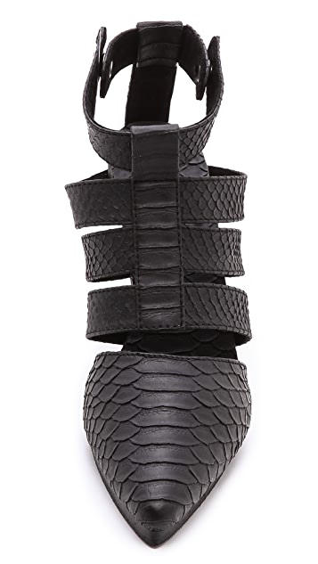 Shakuhachi Strappy Python Embossed Pumps