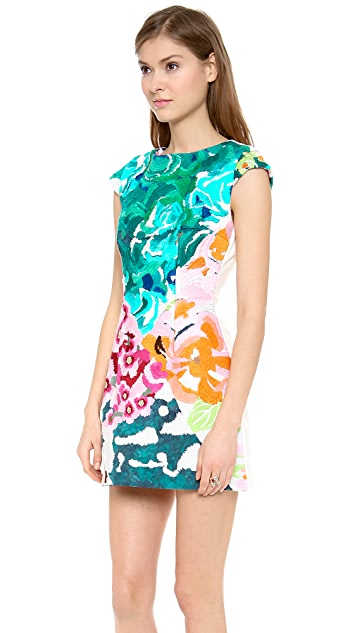 Shakuhachi Flower Bomb Embroidered Square Dress