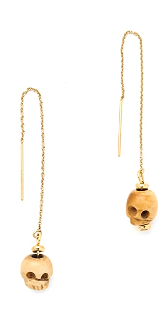 Shashi Rosanna Skull Chain Earrings