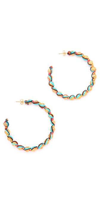 Shashi Rosanna Gold Bead Hoop Earrings