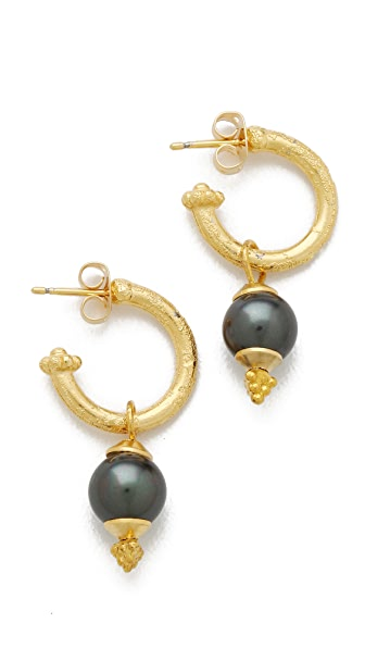 Shashi Black Cultured Pearl Hoop Earrings