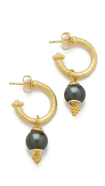 Shashi Black Cultured Pearl Hoop Earrings