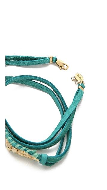 Shashi Nugget Leather Wrap Bracelet