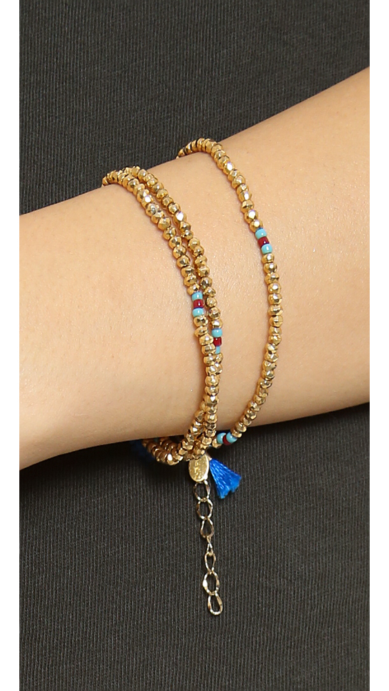 Shashi Eliza Crystal Wrap Bracelet in Metallic Gold flJ48