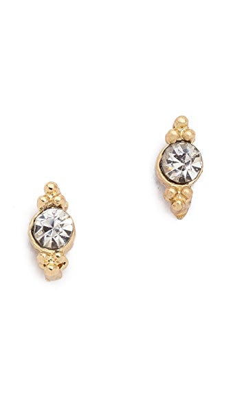 Shashi Mini Ballerina Stud Earrings - Gold/Clear
