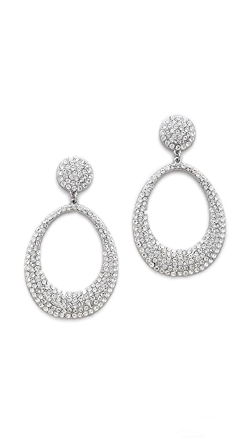 Shay Retro Pave Oval Earrings