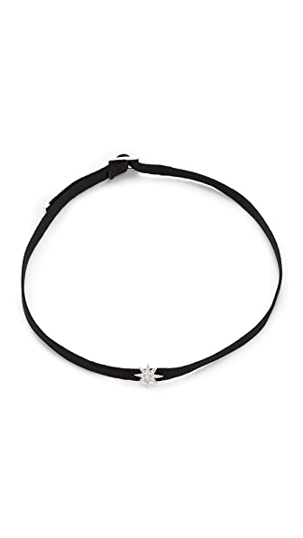 Shay 14k White Gold Mini Starburst Choker Necklace - Black/White Gold