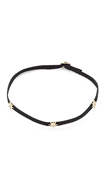 Shay 14k Gold Three Diamond Star Choker Necklace
