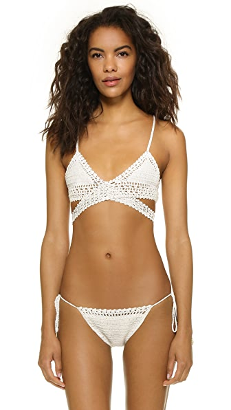 She Made Me Crochet Wrap Triangle Bikini Top