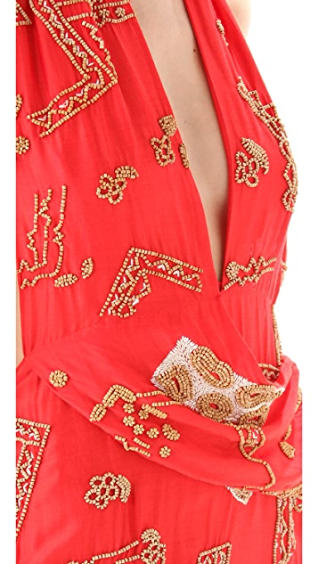 Sheri Bodell Beaded Halter Mini Dress