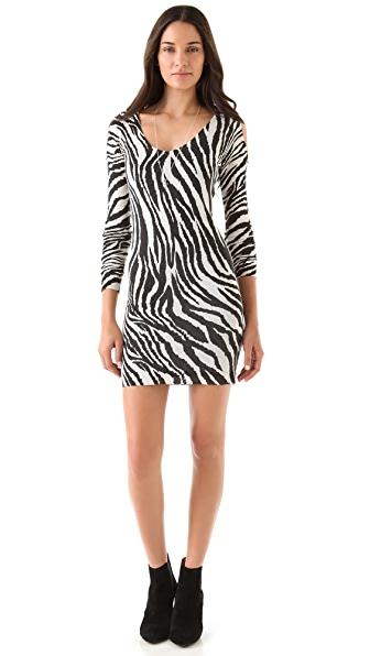 Sheri Bodell Cold Shoulder Zebra Dress