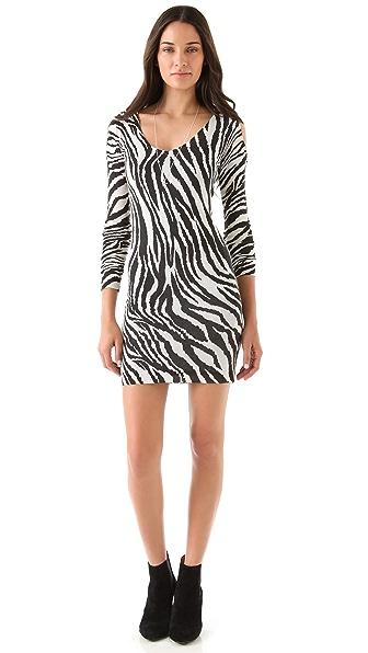 Sheri Bodell Cold Shoulder Zebra Dress