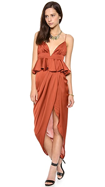 Shona Joy All Spice Draped Peplum Maxi Dress