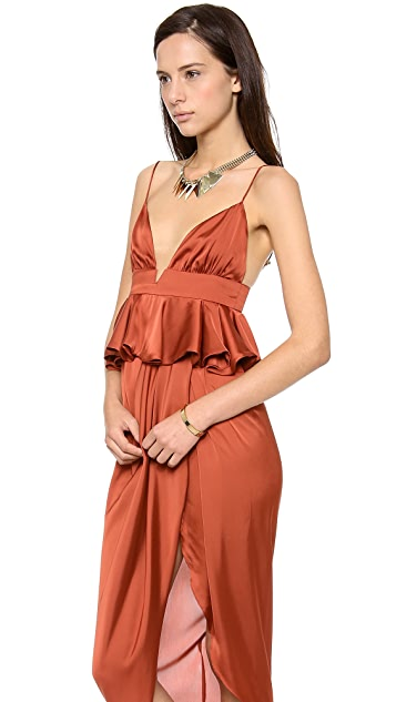 Shona Joy All Spice Draped Peplum Maxi Dress