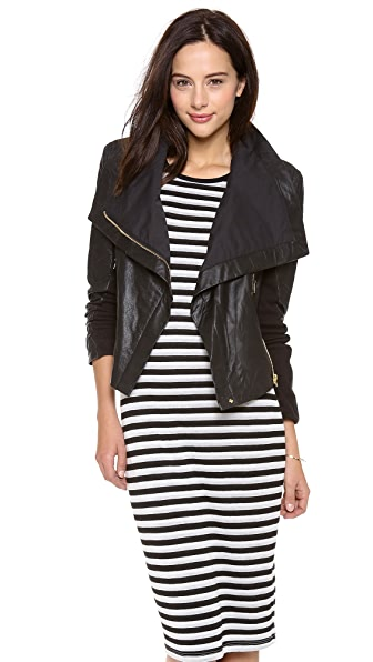 6 Shore Road by Pooja Chloe Leather Moto Jacket