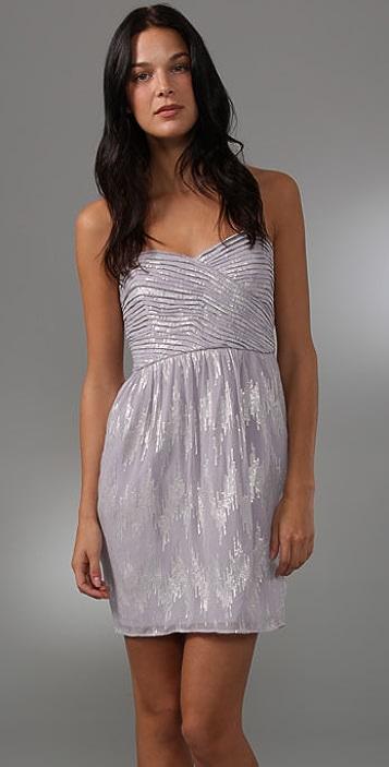 Shoshanna Shirred Strapless Dress