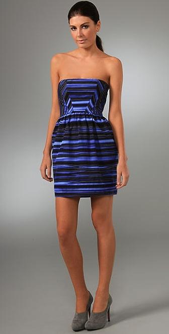 Shoshanna Midnight Tie Dye Stripe Tulip Dress