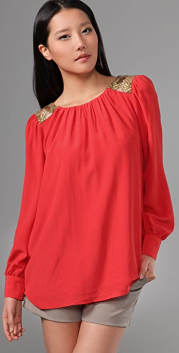 Shoshanna Beaded Shoulder Blouse