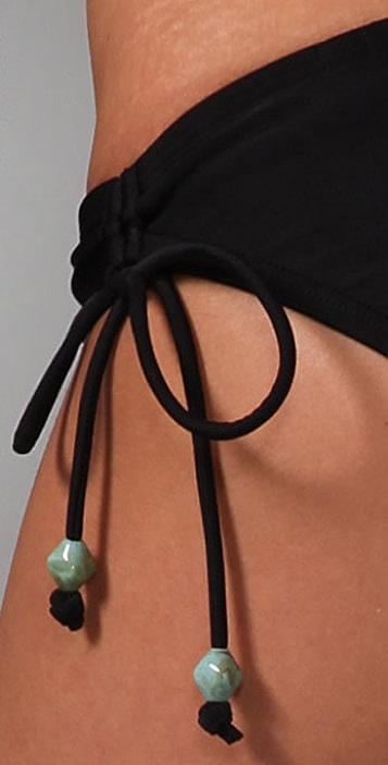 Shoshanna Solid Bikini Bottoms with Turquoise Beads
