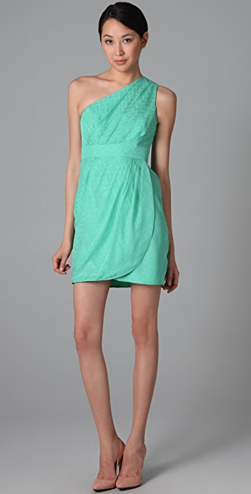 Shoshanna Pleated One Shoulder Dress
