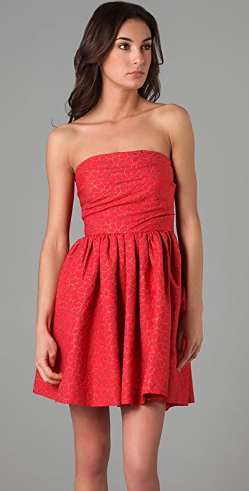 Shoshanna Tuck Detail Strapless Dress