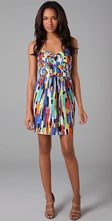 Shoshanna Shirred Bodice Strapless Dress