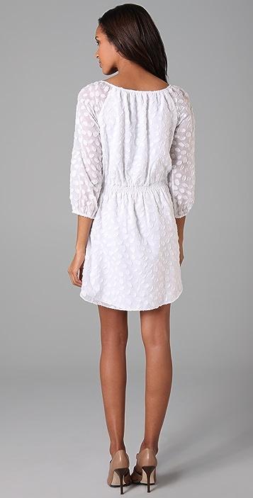 Shoshanna Smocked Waist Ruffle Dress