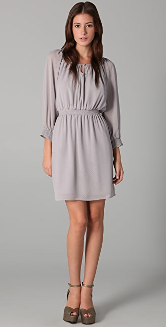 Shoshanna Mini Dot Smocked Waist Dress