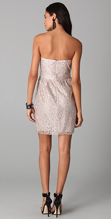 Shoshanna Strapless Metallic Lace Dress