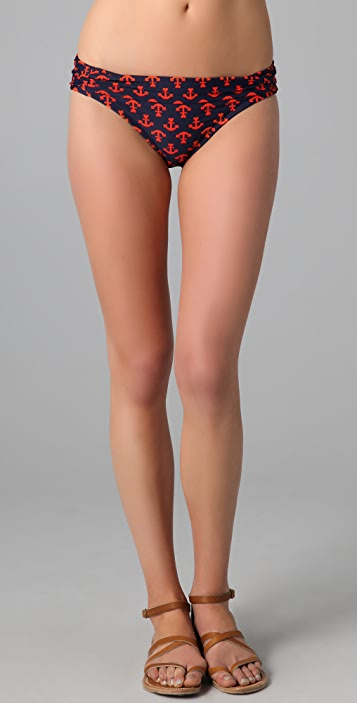 Shoshanna Anchors Away Shirred Bikini Bottoms